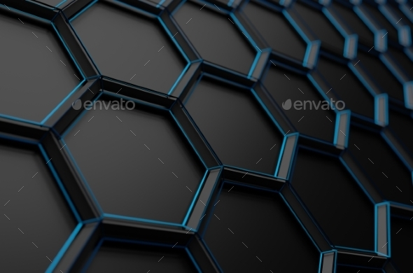 Abstract 3D Rendering Of Surface With Hexagons - Tech / Futuristic Backgrounds