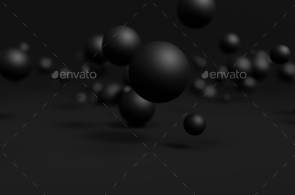 Abstract 3D Rendering Of Flying Spheres
