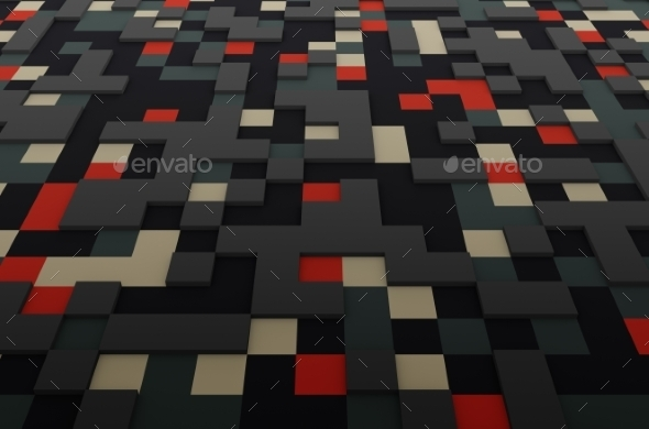 Rendering Of Colored Surface With Squares - 3D Backgrounds