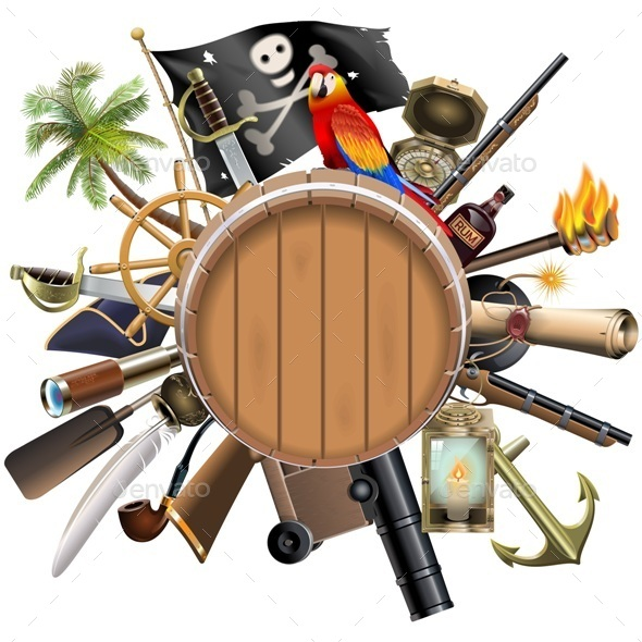 Pirate Concept with Barrel - Travel Conceptual