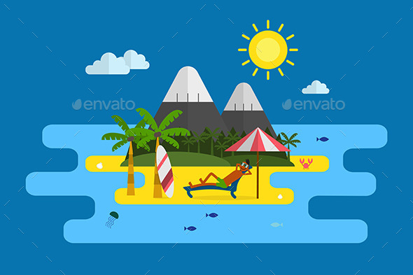 Tropical Island Vacation Postcard - Travel Conceptual