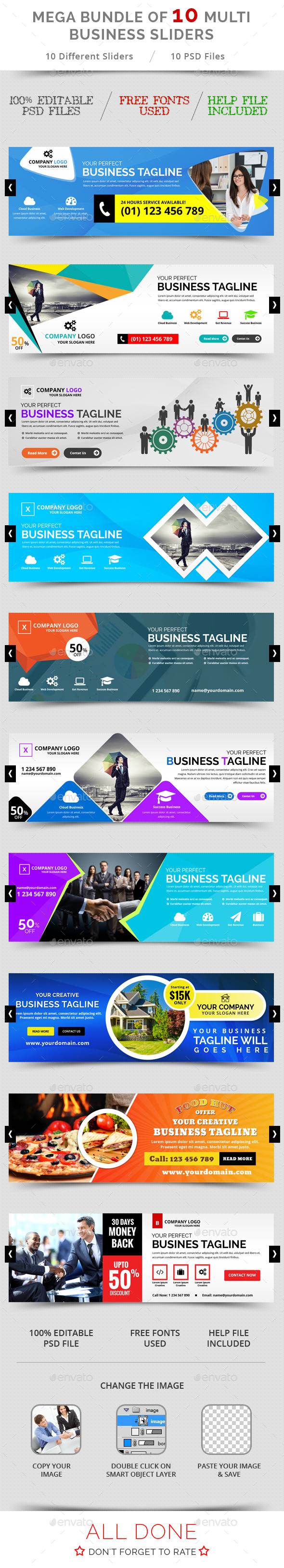 Bundle of 10 Multi Business Sliders - Sliders & Features Web Elements