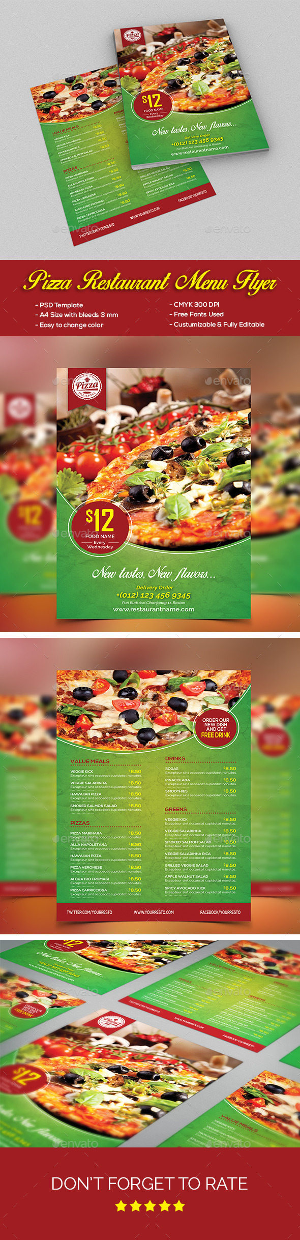 Pizza Restaurant Menu Flyer - Food Menus Print Templates