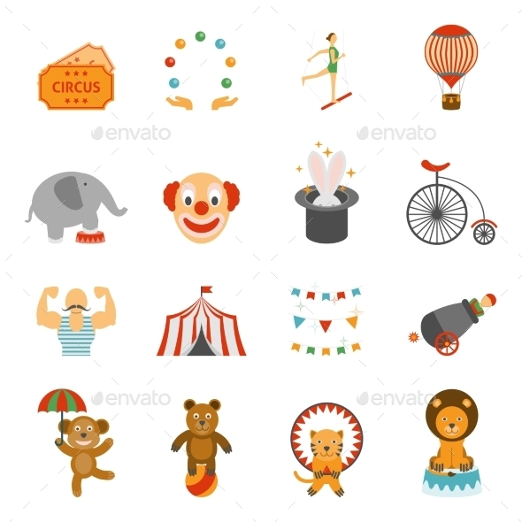 Chapito Circus Icons Set Flat  - Miscellaneous Icons