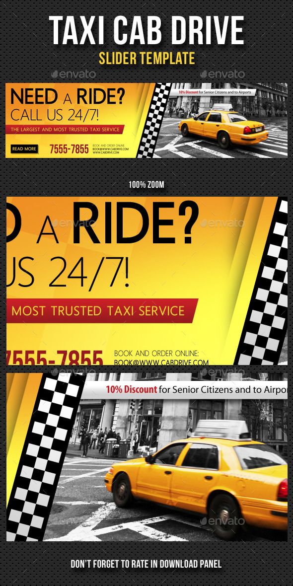 Taxi Cab Drive Slider - Sliders & Features Web Elements