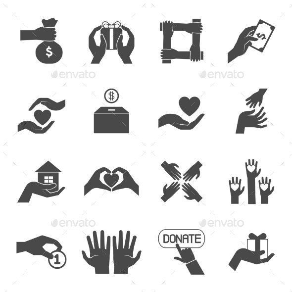 Long Hands Giving Black Icons Set - Miscellaneous Icons