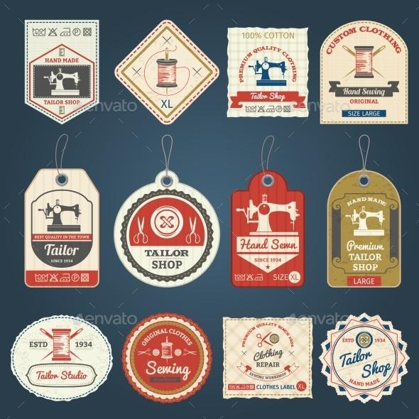 Tailor Shop Badges Labels Icons Set - Retro Technology