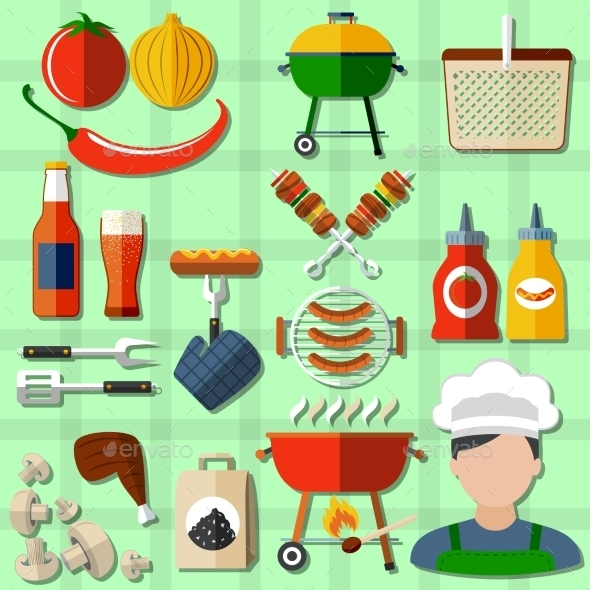 Barbecue Icons Set - Food Objects