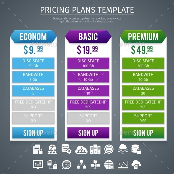 Software Pricing Plans Template  - Services Commercial / Shopping