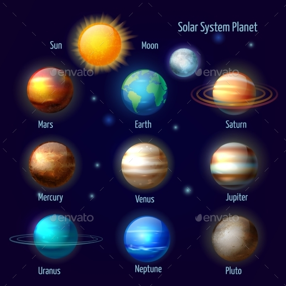 Solar System Planets Pictograms Set - Nature Conceptual
