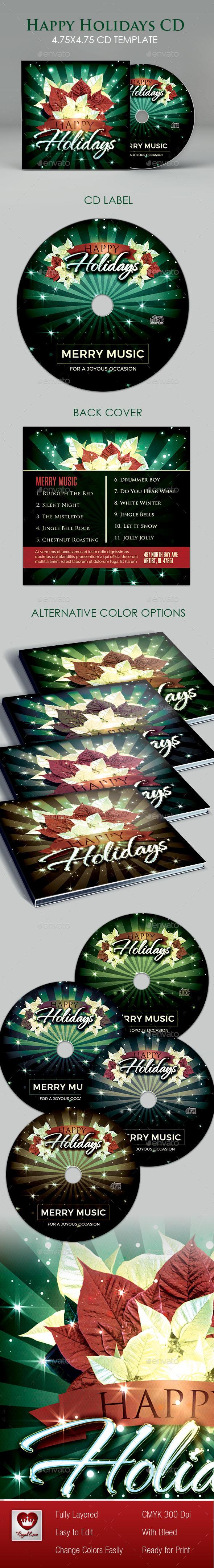 Happy Holidays CD Artwork - CD & DVD Artwork Print Templates