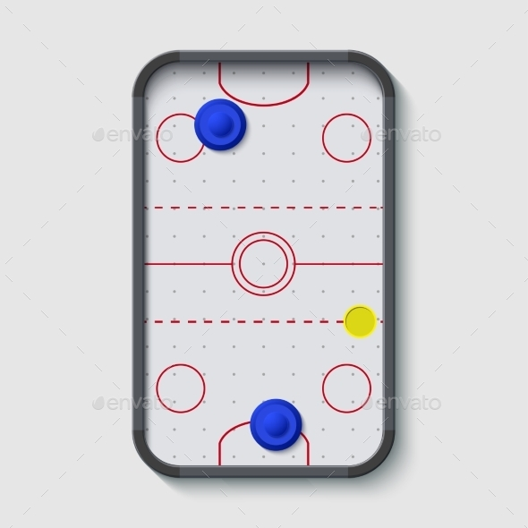 Vector Modern Air Hockey Table On White - Sports/Activity Conceptual