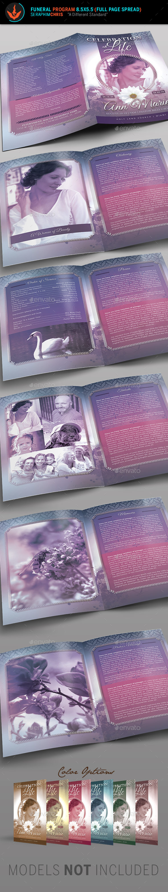 Lavender Funeral Program Template - Informational Brochures