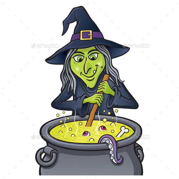 Grinning Witch Stirring Bubbling Cauldron - Halloween Seasons/Holidays