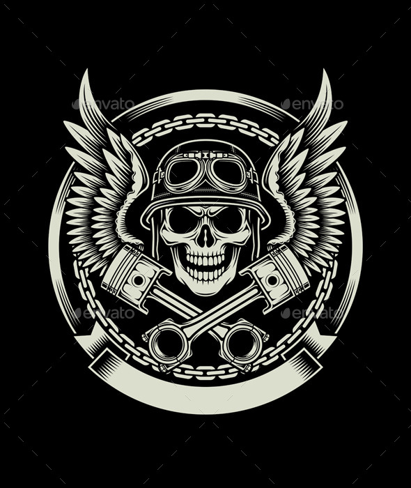Vintage Biker Skull with Wings and Pistons Emblem - Decorative Symbols Decorative