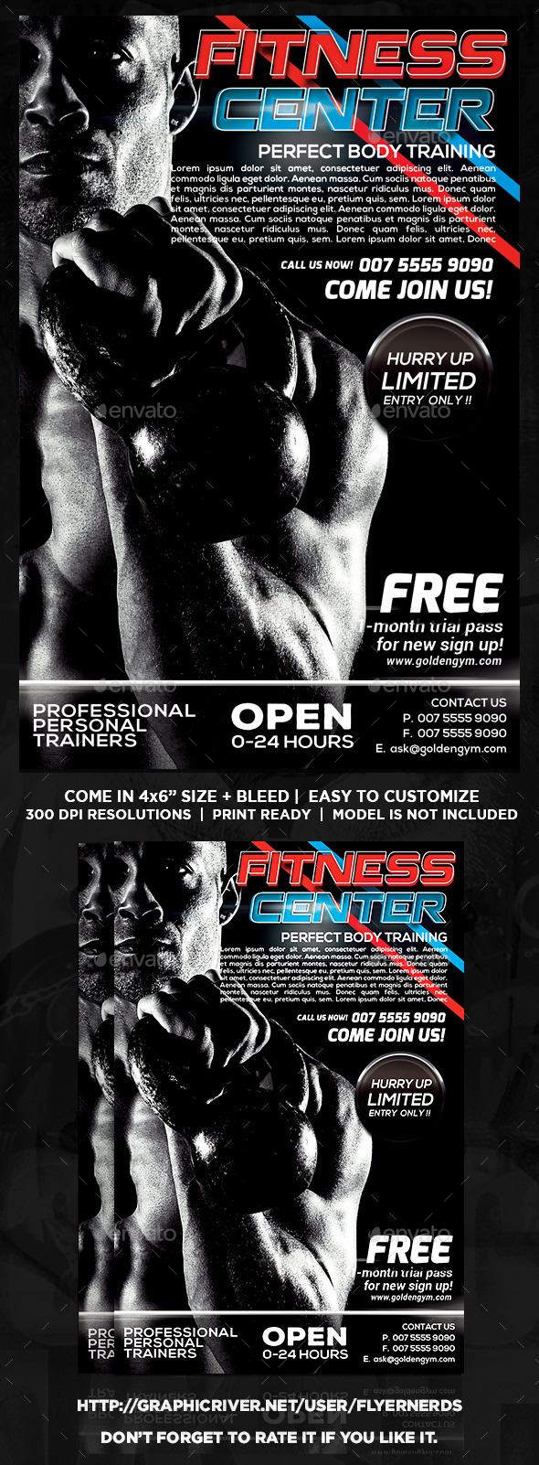 Gym and Fitness Training Center Sports Flyer