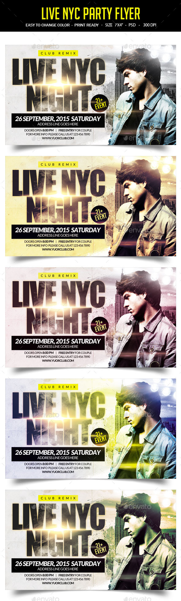 Live NYC Party Flyer - Clubs & Parties Events