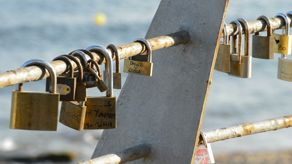 Padlocks with Names of Couples in Love