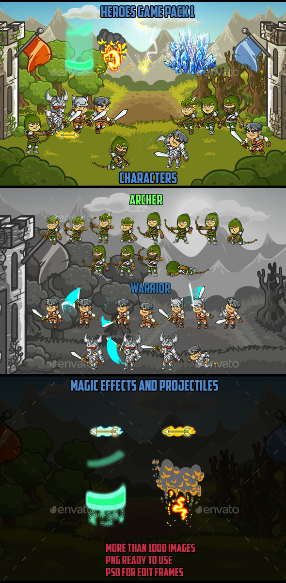 Action Characters Heroes Pack 1 - Sprites Game Assets