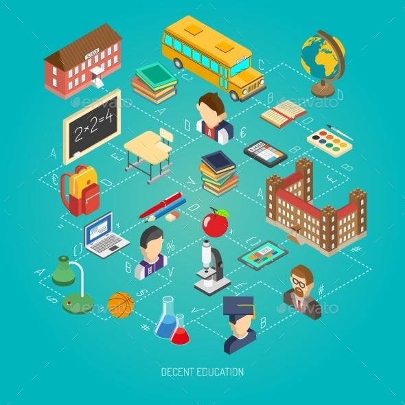 School Isometric Concept Poster - Miscellaneous Conceptual