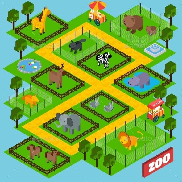 Isometric Zoo Park - Animals Characters