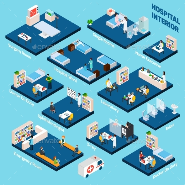 Isometric Hospital Interior - Health/Medicine Conceptual
