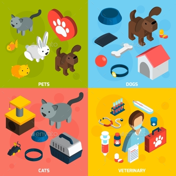 Pets Veterinary Isometric Set - Animals Characters