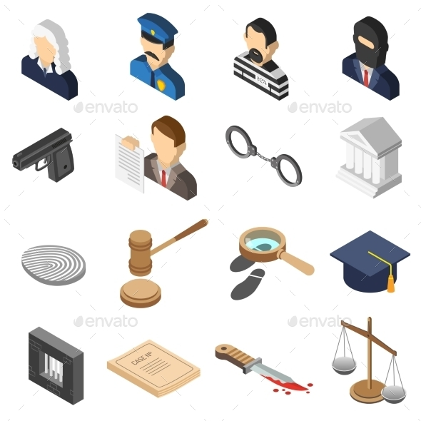 Justice Isometric Color Icon Set  - Miscellaneous Icons