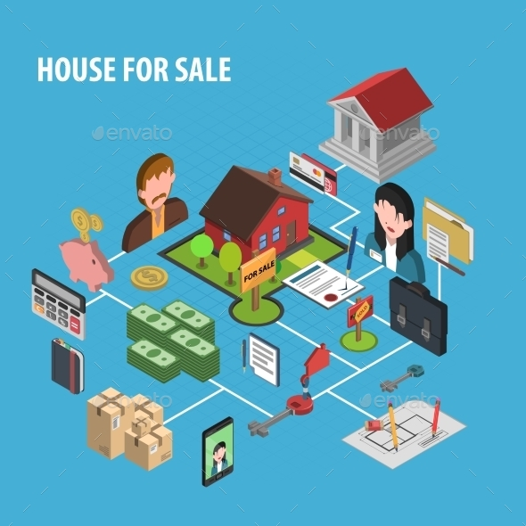 Real Estate Sale Concept - Buildings Objects
