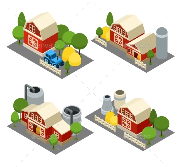 Farm Isometric Icons Set  - Buildings Objects
