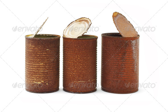 Rusty tin cans - Stock Photo - Images