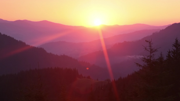 Sunrise over the Forested Mountains and Sunrays