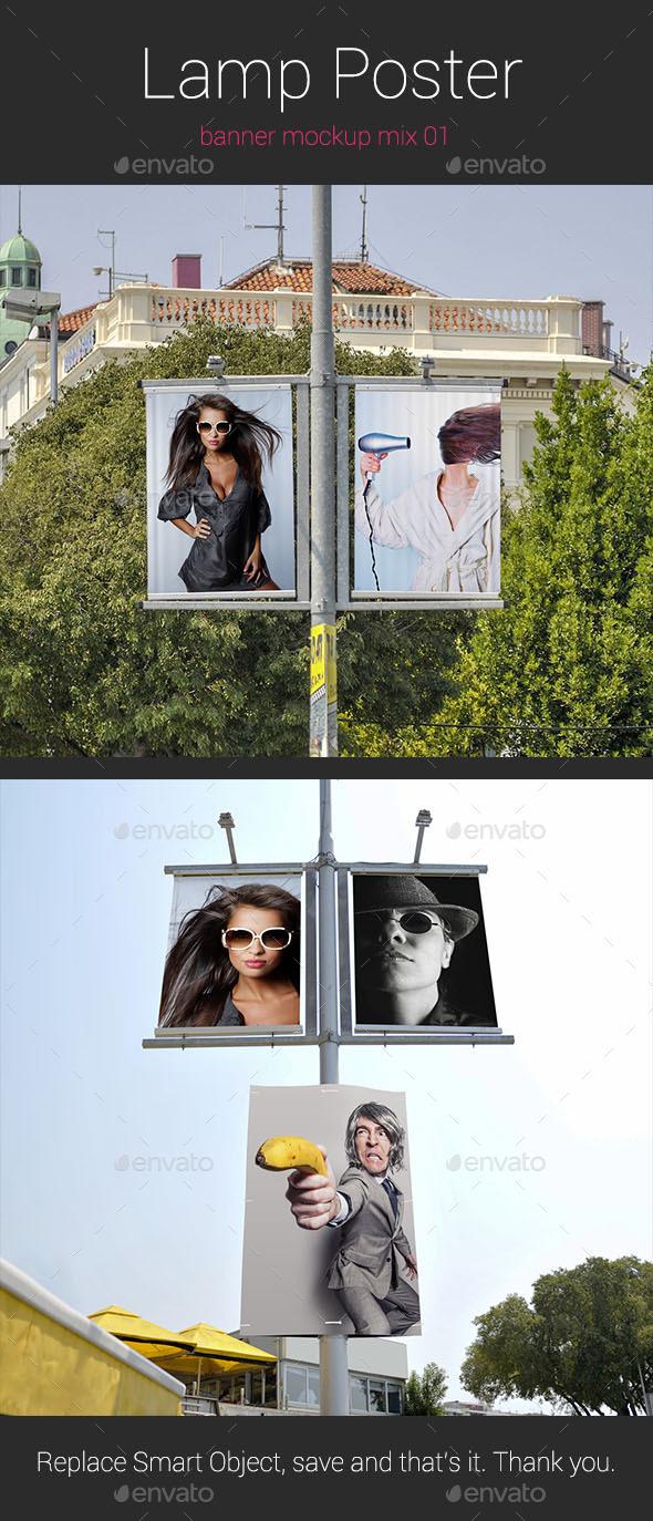 Lamp Banner Mockup - Posters Print