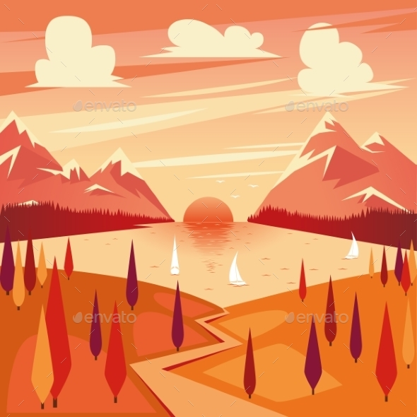 Vector Illustration Of Summer Sunset - Landscapes Nature