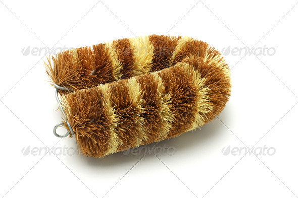 Coconut husk cleaning brush - Stock Photo - Images