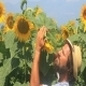 Farmer  Make Checking At Sunflowers - VideoHive Item for Sale