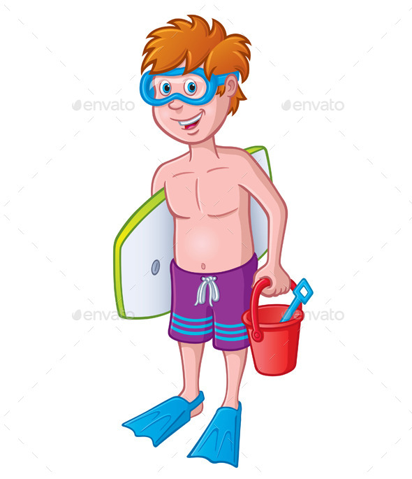 Kid Ready for the Beach - People Characters