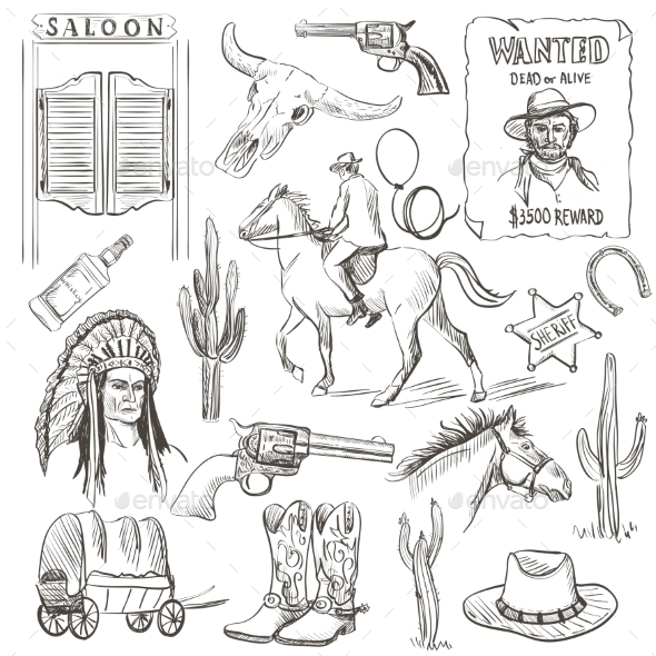 Hand Drawn Wild West Collection
