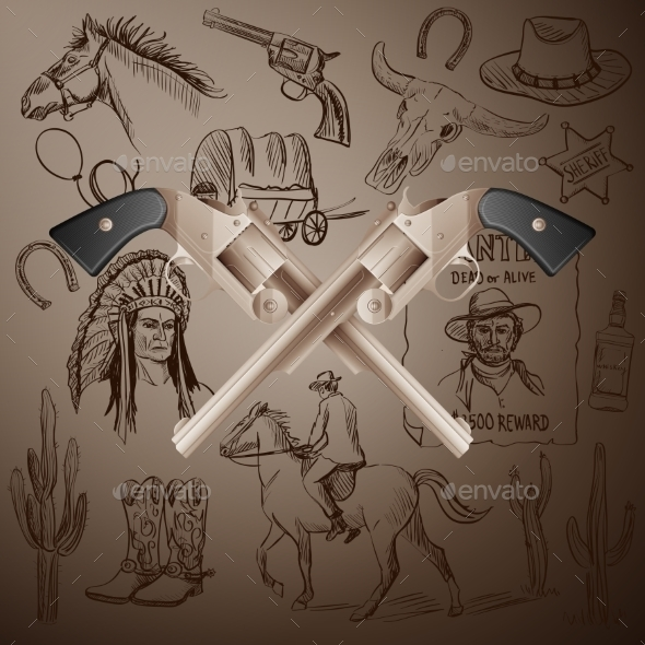 Hand Drawn Wild West Collection With Crossed - Backgrounds Decorative