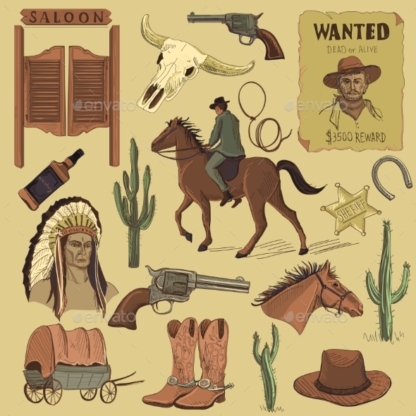 Hand Drawn Wild West Icons Set - Backgrounds Decorative