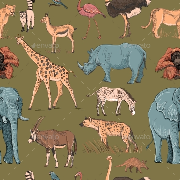 Seamless Animal Planet Pattern - Animals Characters