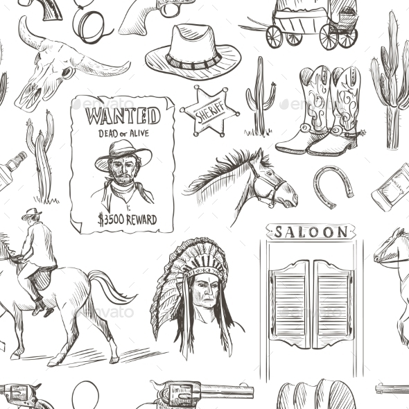 Wild West Hand Drawn Seamless Pattern - Backgrounds Decorative