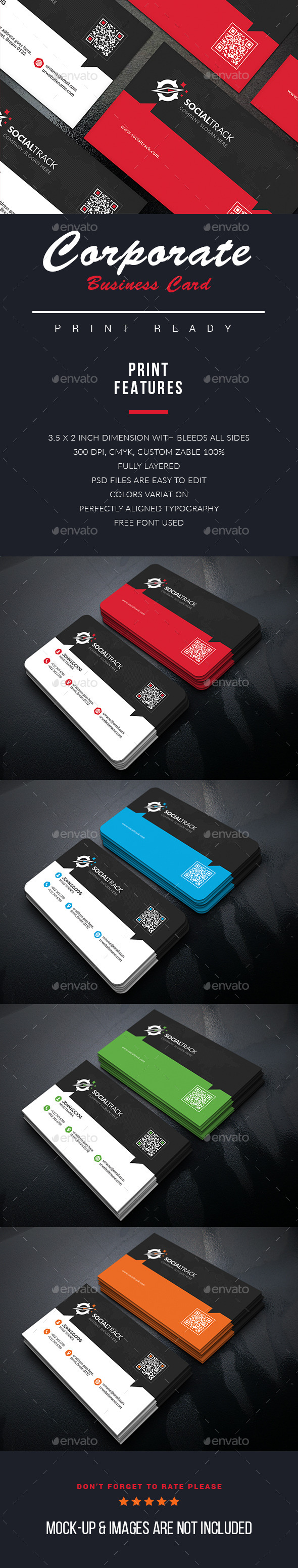 Social Corporate Business Cards - Business Cards Print Templates