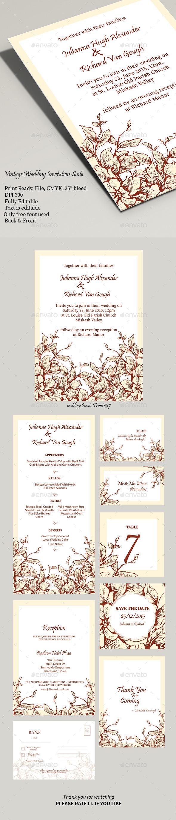 Vintage Wedding Invitation Suite - Weddings Cards & Invites