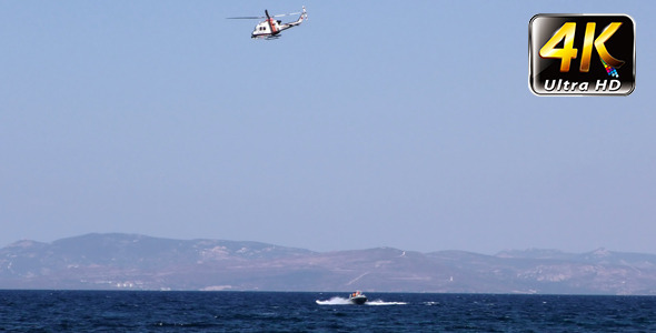 Helicopter and the Boat in Sea 2