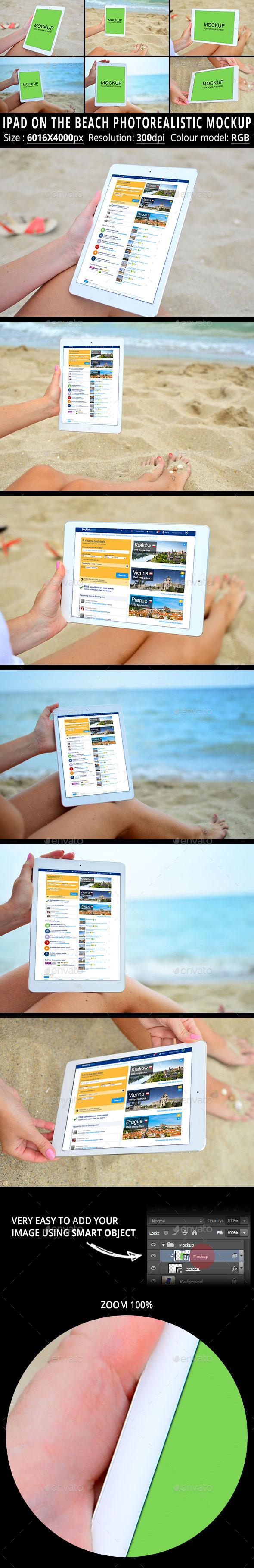 iPad On The Beach Photorealistic Mockup - Mobile Displays