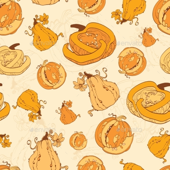 Vector Autumn Pumpkins Harvest Seamless Pattern - Patterns Decorative