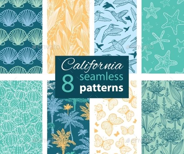 Vector California Nature Eight Set Seamless - Backgrounds Decorative