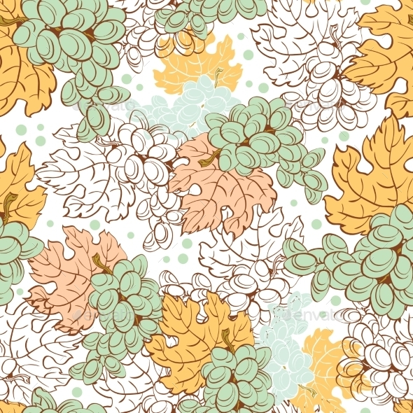 Vector Fall Grapes Harvest Seamless Pattern. Wine - Backgrounds Decorative