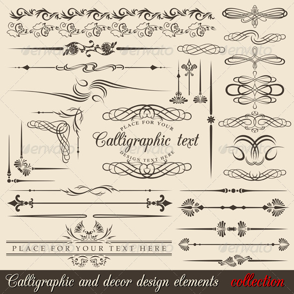 Calligraphic design elements - Flourishes / Swirls Decorative